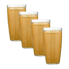 Kraftware Fishnet Double Wall Glasses, Gold, 24 oz, Set of 4