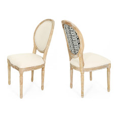 GDF Studio Reed  Farmhouse Dining Chairs, Beige/Black Print/Natural, Set of 2