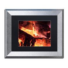 """Kurt Shaffer 'Fireplace' Art, Silver Frame, Black Matte, 14""""x11"""""""