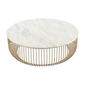Mie Coffee Table, Carrara Marble Top and Gold Base