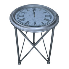 Demeure Et Jardin   Round Gueridon Table With Clock Top   Side Tables And  End Tables