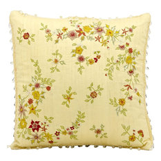 Mina Victory Silk Embroidery Floral Yellow Throw Pillow