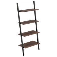 Rustic Style Iron Bookcase With 4 Tier Wooden Shelves, Brown/Black