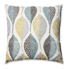 "Pillow Perfect Inc - Woodblock Leaf Rain 24.5"" Floor Pillow - Floor Pillows and Poufs"