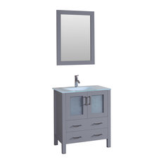 """30"""" Single Vanity With Tempered Glass Top, Gray"""