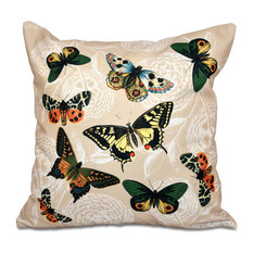"Antique Butterflies And Flowers, Animal Outdoor Pillow, Taupe, 18""x18"""