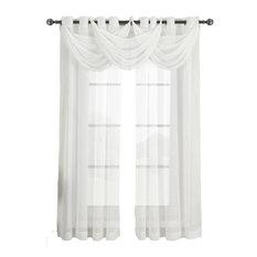 "Abri Grommet 5-Piece Window Treatment Set, White, Panel Size: 100""x84"", Valance:"