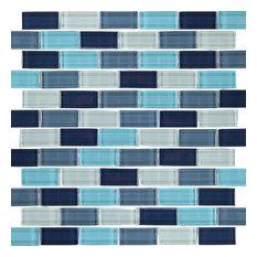 "12""x12"" Glass Tile Blends Crystal Series, Aqua Blend"