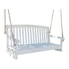 International Caravan - Acacia Two Seater Swing With Curved Back,White Wash - Porch Swings