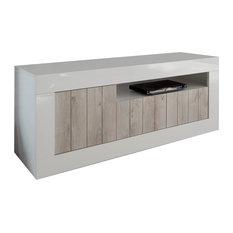 Lipari TV Stand, Walnut and White, White