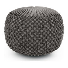 Renee Round Pouf, Dove Gray Velvet