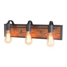 LNC 3-Light Rustic Bathroom Vanity Lights, Black