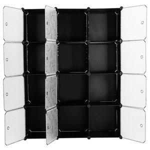 Modular Wardrobe Cabinet, Black Plastic With Translucent Panel Design and Cubes