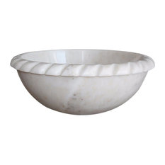 Rope Natural Stone Vessel Sink, White Marble