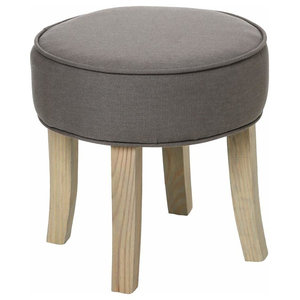 Round Stool in Grey Finished Fabric with Wooden Frame and Legs, Modern Design