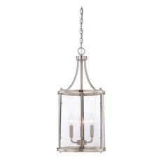 Penrose 3-Light Small Foyer Lantern, Satin Nickel