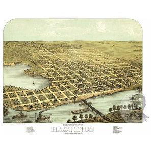 1867 East Saginaw Michigan Vintage Old Panoramic City Map 24x36