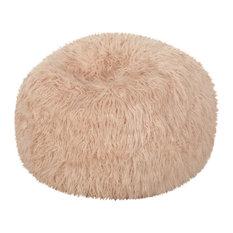 Dundas Modern Glam 3 Foot Faux Fur Bean Bag, Pastel Pink