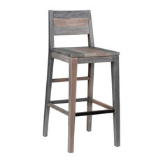 "Norman Reclaimed Pine 30"" Barstool, Charcoal Multi-Tone by Kosas Home"