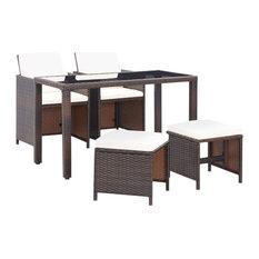 vidaXL Outdoor Dining Set 5 Pieces Poly Rattan Wicker Brown Garden Table Chair