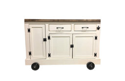 Urban Rustic Farmhouse Kitchen Island With Roll Out Trash Container