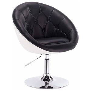 Modern Bar Stool Upholstered, Faux Leather With Tufted Buttons, Black