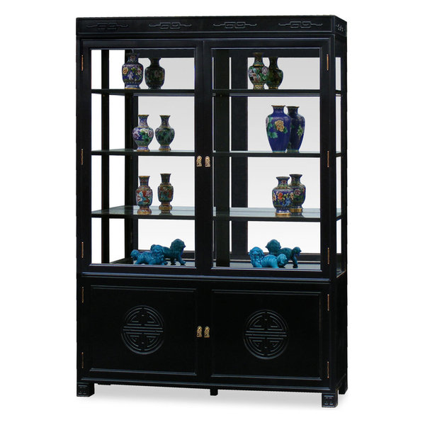 58in Rosewood Longevity Motif China Cabinet