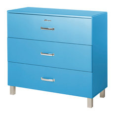... , Commode With 3 Drawers, Blue Car Metallic Lacquer - Filing Cabinets