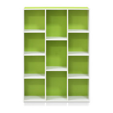 11107 White/Green 7-Cube Reversible Open Shelf Bookcase