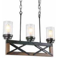 3 Lights Kitchen Wood Rustic Chandelier With Glass Shade