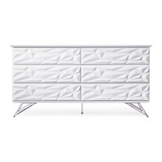 Modern Abesti 6 Drawer Accent Chest in White High Gloss Lacquer with Chrome Legs