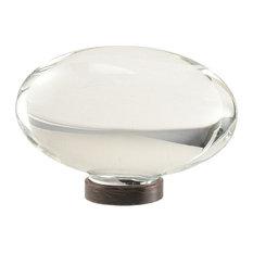 "Glacio 1-3/4"" (44mm) Diameter Clear Crystal/Oil-Rubbed Bronze Oval Cabinet Knob"