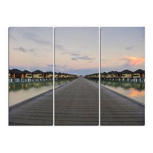 """Wooden Bridge to Water Home Villas"" Wall Art, 3 Panels, 36""x28"""