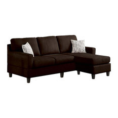 Acme Furniture - ACME Vogue Modern Reversible Chaise Sectional, Chocolate - Sectional Sofas