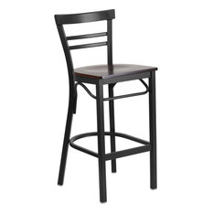 Hercules Series Black Ladder Back Metal Restaurant Barstool Walnut Wood Seat