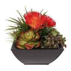 Tropical Artificial Succulent Arrangement in Metal Container
