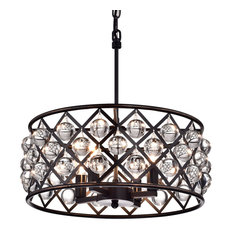 Azha 4-Light Oil Rubbed Bronze Drum Pendant Chandelier With Crystal Spheres Glam