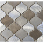 """Rocky Point Tile Co - New Amsterdam Brushed Aluminum Arabesque Mosaic Tile, Chip Size: 2""""x2"""", 12""""x12"""" - Add some warmth to your kitchen with our New Amsterdam arabesque aluminum mosaic tiles! These are a smaller arabesque tile than our glass tiles. Each tile is made from brushed aluminum. They are roughly 2"""" x 2"""" in size. Colors include silver, taupe, and brown."""