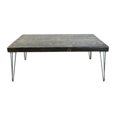 "2.5"" Thick Coffee Table, Reclaimed Wood, Hairpin Legs, 24x36x18, Dark Walnut"