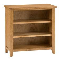 Rustic Small Wide Bookcase, Oak