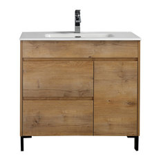 Alma Grace Natural Oak Finish Freestanding Vanity With Porcelain Sink 36-inch