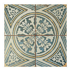 """SomerTile 17.75""""x17.75"""" Kings Ceramic Floor/Wall Tile, Faded Blue and Yellow"""