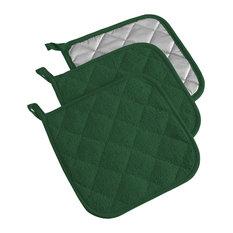 DII Dark Green Terry Pot Holder, Set of 3