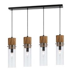 Cal Lighting FX-3583-4 Island Lighting Black and Wood Wood/Glass Spheroid