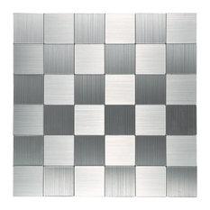 "Peel and Stick Metal Backsplash Tile Puzzle Brush Silver 12""x12, A16033"