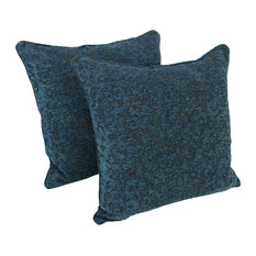 25IN Jacquard Chenille Square Floor Pillow Inserts, Set of 2, Blue Floral