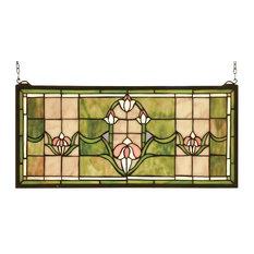 """Meyda 24""""x11"""" Tulips Transom Stained Glass Window"""