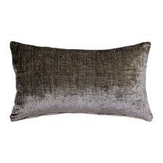 Pillow Decor, Venetian Velvet Cloud Gray Pillow 12x19
