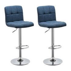 Modern Set of 2 Swivel Barstools, Linen Fabric, Backrest Adjustable Height, Blue