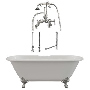 """60"""" Cast Iron Double Ended Clawfoot Tub Gooseneck Deck Mount Plumbing Package CH"""
